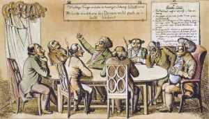 Karikatur von Diskutierenden mit Maulkörben aus dem Jahr 1819