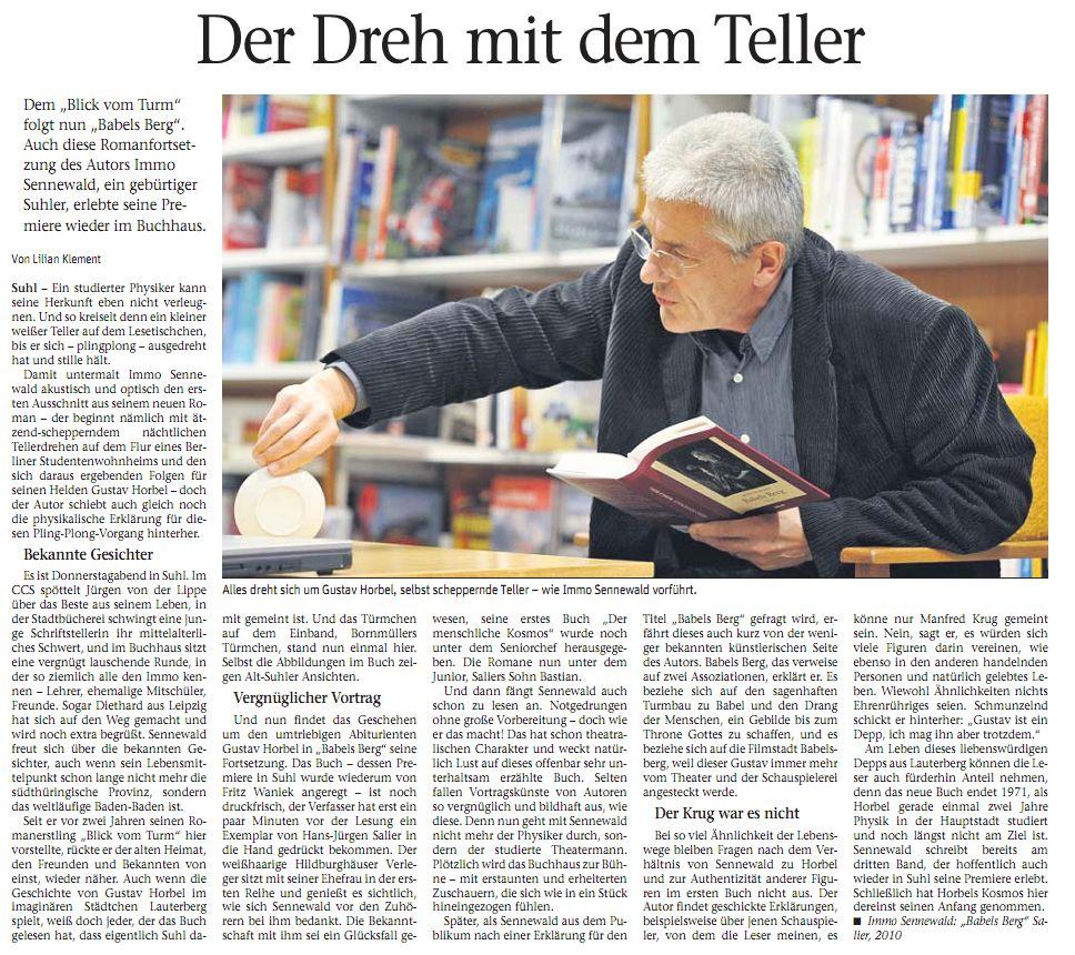 """Lilian Klement in """"Freies Wort"""" Suhl über die Buchpremiere"""
