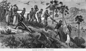 Sklavenhändler treiben und misshandeln ihr Beutegut
