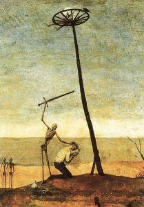 Illustration von Hinrichtungen durch Enthaupten und Rädern