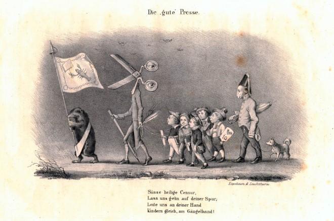 """Karikatur aus dem 19.Jahrhundert zeigt die """"gute Presse""""."""